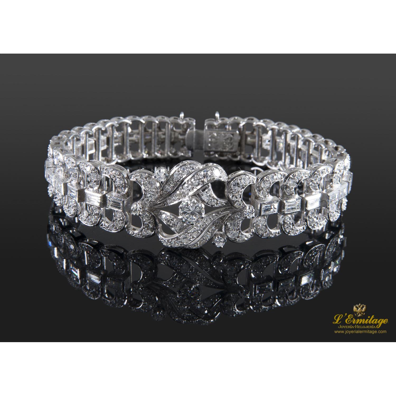 Pulseras Pulsera Art Deco Oro Blanco Y Diamantes 183 Joyeria